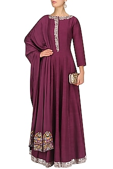 Wine Embroidered Anarkali Set by Manish Malhotra