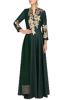 Emerald Green Sequins Rose Flower Embroidered Kalidaar Set by Manish Malhotra