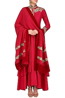 Wine Resham Embroidered Anarkali Set by Manish Malhotra