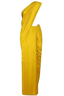 Mustard Fringes Saree with Gold Sequin Embroidered Blouse by Manish Malhotra