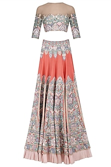 Coral Resham Jaal Embroidered Lehenga Set by Manish Malhotra
