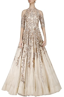 Ivory and Gold Sequins Embroidered Cold Shoulder Gown by Manish Malhotra