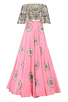 Gold and Silver Sequins Off Shoulder Crop Top with Bright Pink Lehenga by Manish Malhotra
