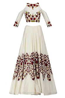 Ivory Resham Embroidered Cold Shoulder Lehenga Set