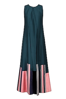 Teal Green and Navy Stripe Patched Long Kurta Set