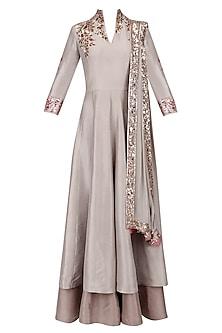 Grey and Gold Badla Embroidery Double Layered Kurta Set by Manish Malhotra
