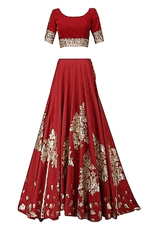 Red and Gold Badla Work Lehenga Set