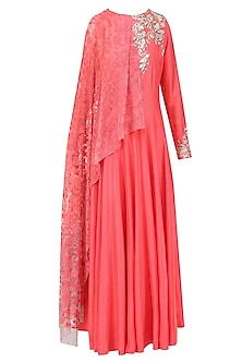 Coral Embroidered Kurta with Draped Dupatta