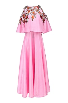 Pink Resham Embroidered Kurta with Attached Crop Top and Pants