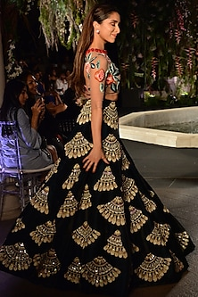 Nude and Emerald Green Floral Embroidered Lehenga Set by Manish Malhotra
