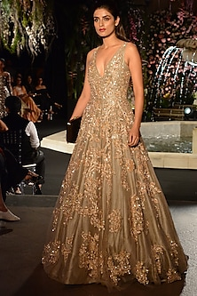 Grey Sequins Leaf Embroidered Gown by Manish Malhotra