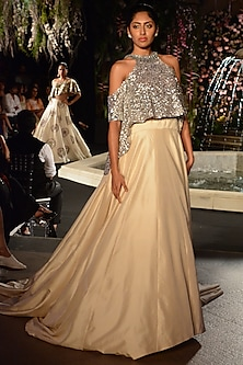 Grey Sequins Embroidered Crop Top with Beige Lehenga by Manish Malhotra