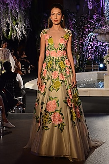 Ivory Floral Resham Embroidered Gown by Manish Malhotra