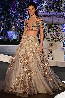 Grey and Gold Sequins Leaf Lehenga with Nude Floral Blouse by Manish Malhotra