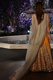 Mustard Jaal Embroidered Lehenga with Nude Sheer Blouse by Manish Malhotra