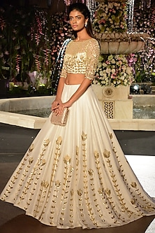 Ivory and Gold Sequins Embroidered Lehenga Set