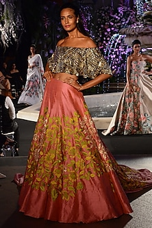 Pink Lehenga with Gold and Silver Embroidered Crop Top by Manish Malhotra