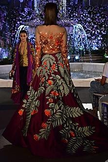 Purple and Nude Floral Resham Embroidered Lehenga Set by Manish Malhotra