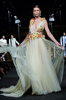 Lemon Yellow Floral Embroidered Gown by Manish Malhotra