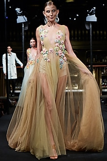 Beige Floral Embroidered Gown by Manish Malhotra