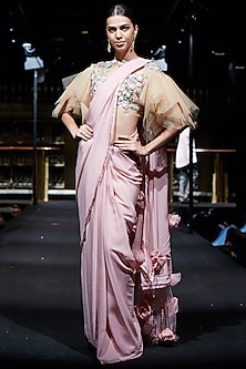 Salmon Pink Saree with Embroidered Blouse by Manish Malhotra