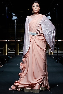 Peach Saree with Embroidered Blouse and Silver Belt by Manish Malhotra