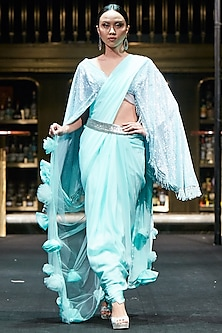 Turquoise Saree with Embroidered Blouse and Silver Belt by Manish Malhotra