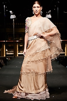 Beige Pre-Stitched Tassels Saree with Embroidered Blouse and Belt