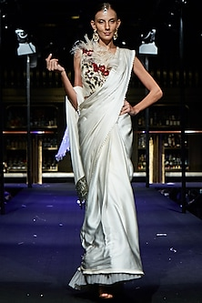 Ivory Fringes Saree with Embroidered Blouse by Manish Malhotra