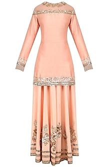 Peach Sequins Embroidered Sharara Set