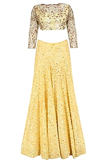 Yellow Sequin Chitta Work Lehenga Set