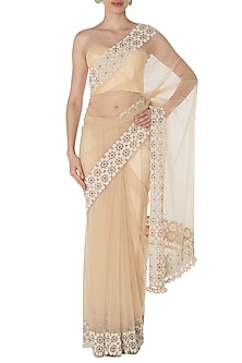Banana Cream Embroidered Saree Set by Manishii