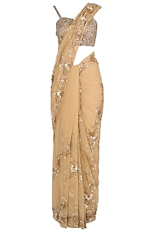 Gold Sequins Embroidered Saree Set
