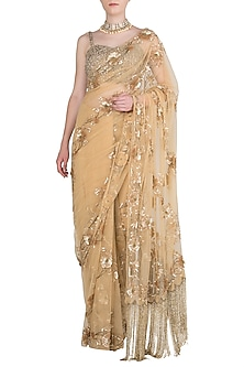 Gold Sequins Embroidered Saree Set by Manishii