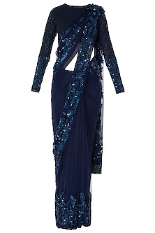 Midnight Blue Floral Hand Embroidered Saree Set by Manishii