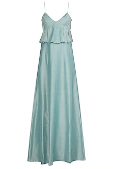 Aqua Blue Anarkali Gown with Embellished Dupatta