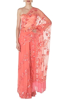 Orange Floral Hand Embroidered Saree with Sleeveless Blouse by Manishii
