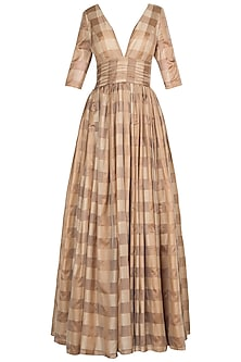 Almond Brown Handwoven Anarkali Gown with Dupatta by Manishii