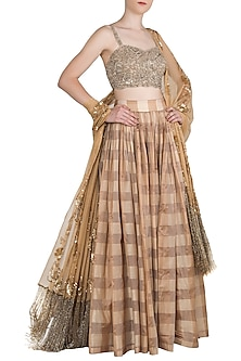 Almond Brown Handwoven Embroidered Lehenga Set by Manishii