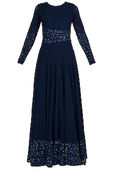 Midnight Blue Embroidered Lace Anarkali Gown