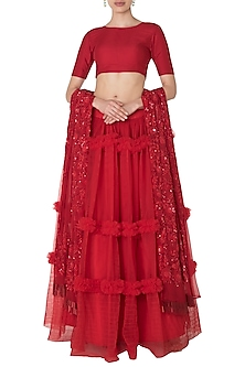 Red Tiered Embroidered Lehenga Skirt Set by Manishii