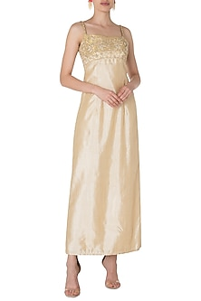 Ivory and Gold Embroidered Gown by Manishii