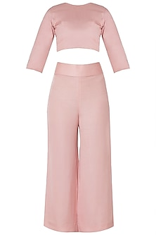 Pink Crop Top and High Waisted Trousers with Lucknowi