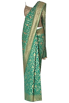 Green Banarasi Saree with Gold Embroidered Corset