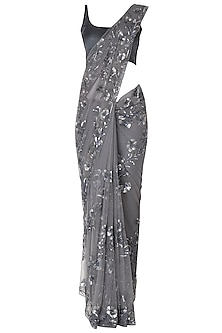 Grey Sequins Embroidered Saree Set