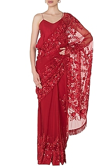 Red Floral Emboridered Saree with Peplum Blouse by Manishii