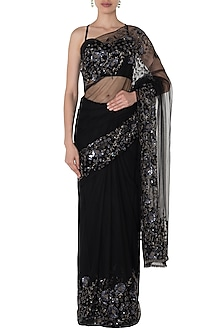 Black Floral Embroidered Saree with Bustier by Manishii