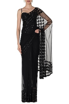 Black Embroidered Saree with Corset by Manishii