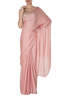 Pink Satin Saree with Embroidered Bustier by Manishii