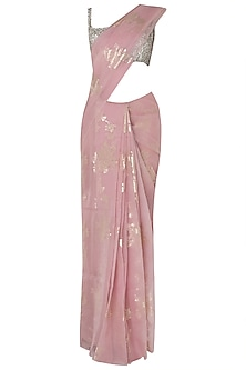 Pink Foil Printed Saree with Silver Pearl Trinkelet Blouse